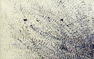 Traces Graphiques. Peinture de Bernard RÉQUICHOT, 1958 (Musée National d'art moderne du Centre  Pompidou). Photo : Maxime DERIAN